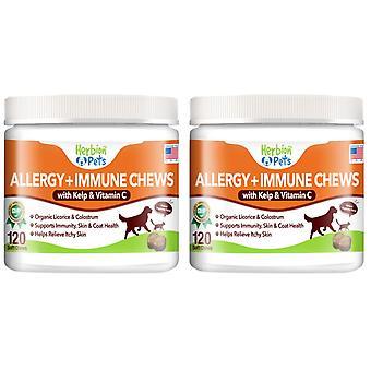 Herbion Pets Allergia + Immun rágás hínár és C-vitamin, 120 Soft Chews (Pack 2)