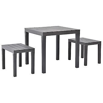 Mesa de jardín con 2 bancos de plástico marrón
