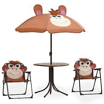 3 piezas de jardín para niños Bistro set con marrón sombrilla