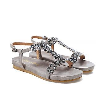 Alma en Pena T-Bar Rhinestone Suede Sandals