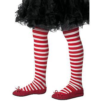 Het witte en rode gestreepte panty van het kind