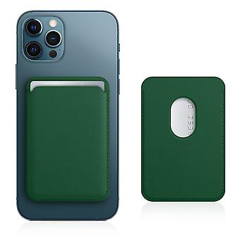 Magsafe Card Case for iPhone 12 Leather Covered Magnetic Fastening Green