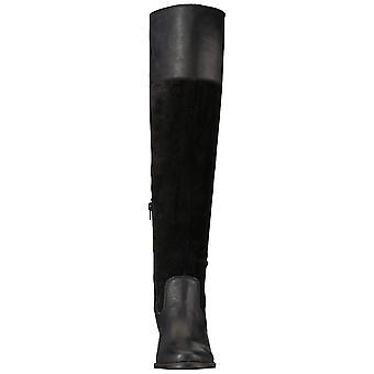 Marca suerte mujeres Komah cuero almendra del dedo del pie sobre la rodilla Botas de moda