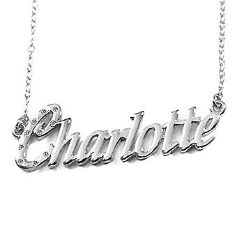 """L Charlotte - 18-carat White Gold Plated Necklace, with Customizable Name, Adjustable Chain of 16""""- 19"""", in Ref Pack. 496330314249"""