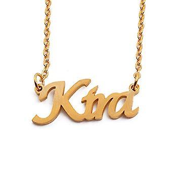 """L KIRA - 18 Karat vergoldet Halskette, mit anpassbarem Namen, verstellbare Kette 16""""- 19"""