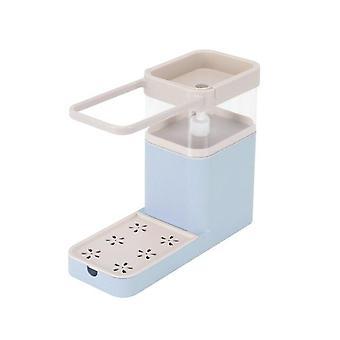 800ML ny tvålpumpsdispenser med svamphållare rengöring vätskebehållare (blå)