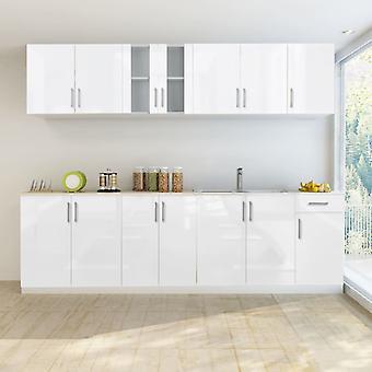 vidaXL 8-tlg. Küchenzeile Hochglanz Weiß 260 cm