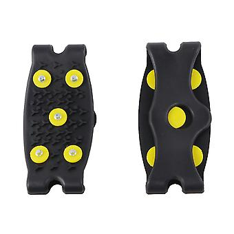 1 Pair 5-stud Shoes Cover Ice Non-slip Silicone Crampon Snow Ice Climbing Anti Spikes Grips Crampon Cleats Shoes Accessories Black