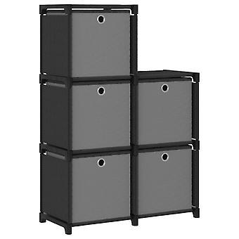 Schrank mit 5 Fächern mit Boxen 103X30X72,5 Cm Stoff Schwarz