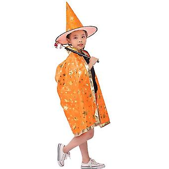 Wizard Cape Witch Cloak With Hat, Halloween Costume For Kids Cosplay Party(Orange)