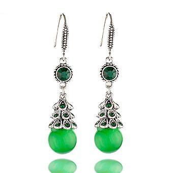 Fül horgok opál fülbevaló lány páva zöld réz fülbevaló születésnapi ajándék