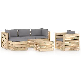 vidaXL 6 pcs. Garden Lounge Set with Cushion Green Impregnated Wood