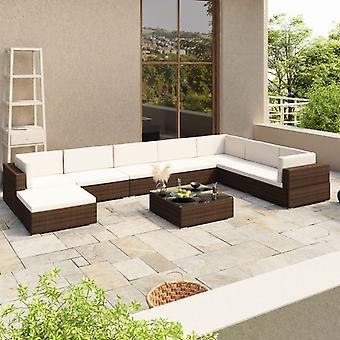 vidaXL 8 pcs. Garden lounge set with pads Poly Rattan Brown