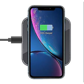 Tempered glass mirror square wireless charger,15W fast charging for Apple Samsung(Gray)