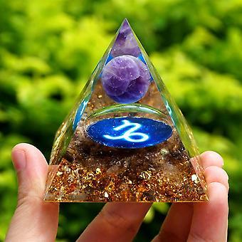 Amethyst Kristall Kugel Tierkreis Orgon Pyramide Steinbock Geometrie