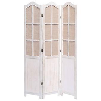 vidaXL 3 قطعة غرفة مقسم أبيض 105 × 165 سم النسيج