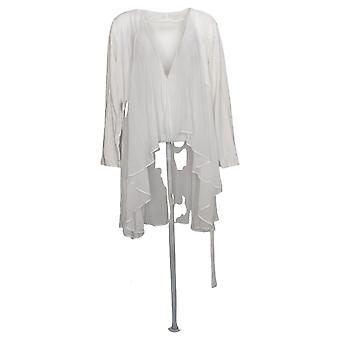 LOGO by Lori Goldstein Women's Sweater Cascade Cardigan White A272845