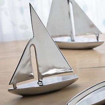 Silver Modern Sail Boat Serving Dish