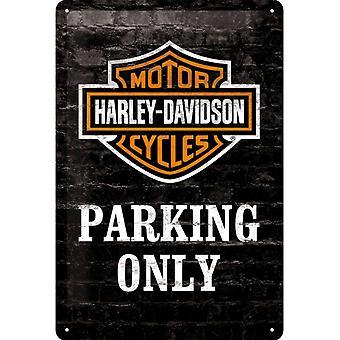 Harley Davidson parkering endast vintage design stor tenn skylt