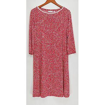 Susan Graver Vestido Estampado Líquido Tejido Codo Manga Rojo A291474