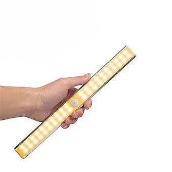 40led Double Row Infrared Sensor Intelligent Night Light Cabinet Light Usb Charging Cabinet Light Toilet Strip Light Wireless, Usb Rechargeable, Magne