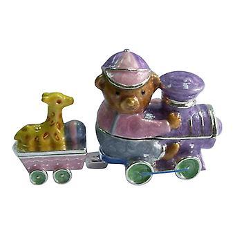 Pewter Baby Bear Train Engineer with Giraffe Car Trinket Box Set of 2