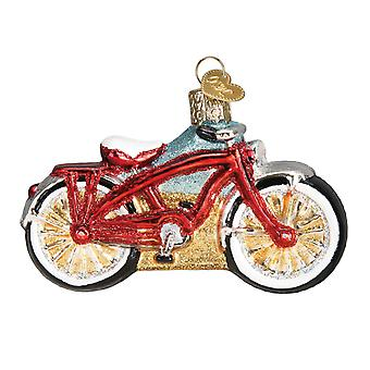 Old World Christmas Red Cruiser Bike Holiday Ornament Glass 3.75 Inches