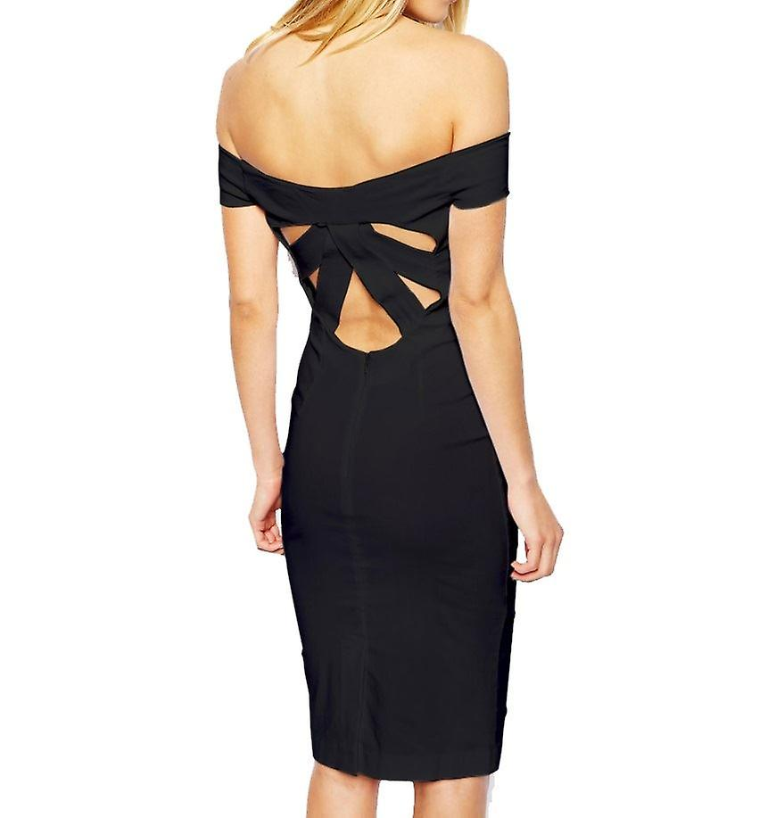 ASOS Petite Exclusive Bardot Pencil Dress with Strappy Back DR905-Black-4