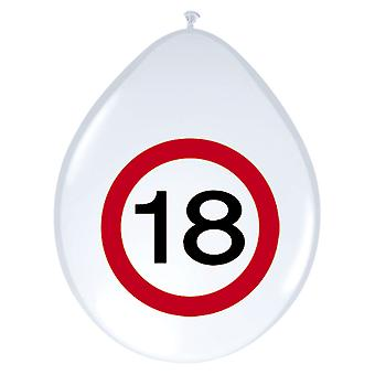 Balloon of balloons 8 St. traffic sign number 18 birthday 30 cm decoration party
