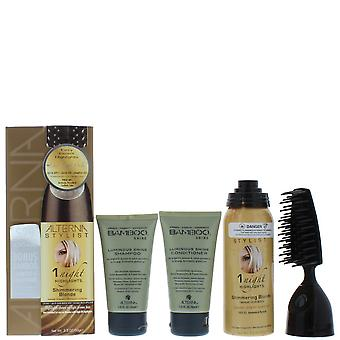 Alterna Stylist Gift Set 90ml 1 nacht hoogtepunten in glinsterende Blond + 40ml bamboe Shine Conditioner + 40ml bamboe Shine Shampoo