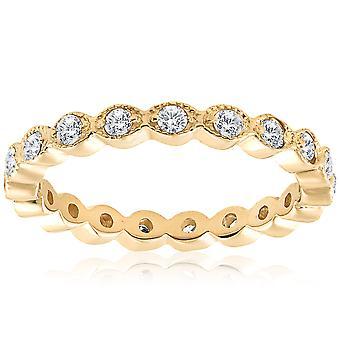 1 / 3ct stabelbare diamant bryllup filigran evigheden Ring 14K gul guld