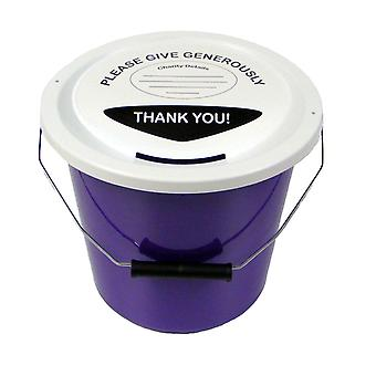 Charity Money Collection Bucket 5 Litres - Purple