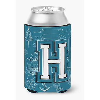 Letter H Sea Doodles Initial Alphabet Can or Bottle Hugger