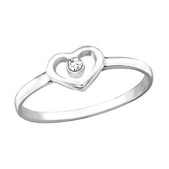 القلب - 925 الجنيه الاسترليني خواتم الفضة مرصع بالجواهر - W19425X