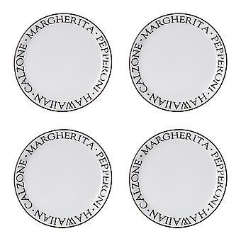 Premier Housewares Noir juego de 4 Pizza platos 23cm