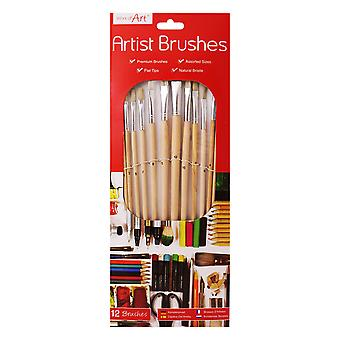 ArtBox 12 Artist Natural Bristle Brushes