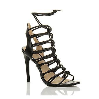 Ajvani Womens high-Heel Riemchen schnüren hoch ausgeschnittene Ghillie Käfig Sandalen Schuhe