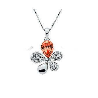 Flower Leaf Butterfly Orange Real Crystal And Rhinestone Necklace