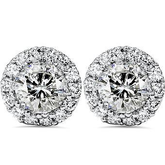 1 7 / 8ct Halo алмазов шпильки 14K Белое золото