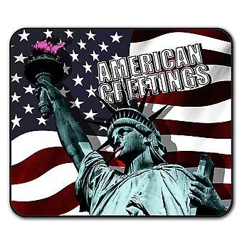 Flaga Amerykańska śmieszne antypoślizgową mysz mata podkładka 24 cm x 20 cm | Wellcoda