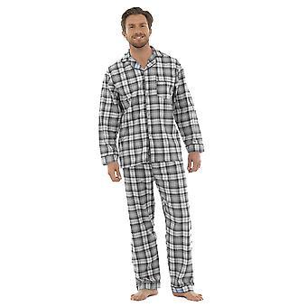 Tom Franks Mens Børstet Bomull Sjekket Pyjamas Lounge Slitasje - Grå - Xxl