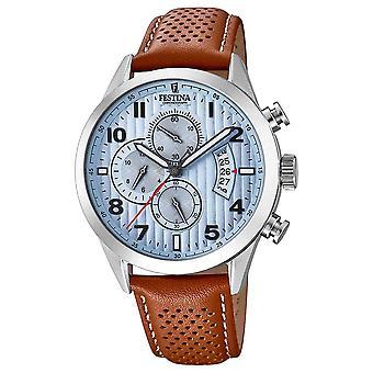 Sport Festina Mens Chronograph Brown Leather Watch Strap F20271/4