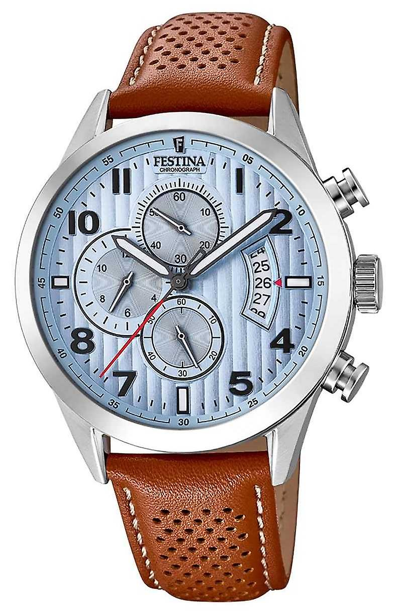 Festina Mens Sports Chronograph Brown Leather Strap F20271/4 Watch