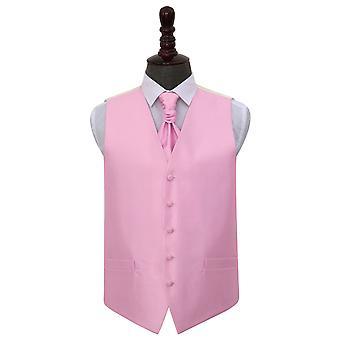 Lumière rose vérification solide mariage gilet & Cravat Set