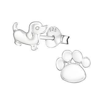 W30237x--925 الاسترليني فضة عادي ترصيع الإذن-الكلب وطباعة مخلب