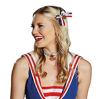 Matroos haar clips blauw witte accessoire rode carnaval Halloween