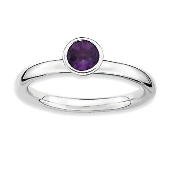 925 Sterling Zilveren Bezel gepolijst Rhodium verguld stackable expressies hoog 5mm Ronde Amethisst Ring Sieraden Geschenken voor W