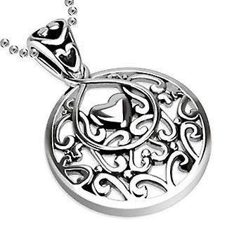 Key-Heart Pendant with 2 Stars & Gemmed Cross in Middle, Stainless Steel Jewellery with Chain