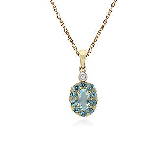 Cluster Round Blue Topaz & Diamond Oval Pendant Necklace in 9ct Yellow Gold 135P1912059