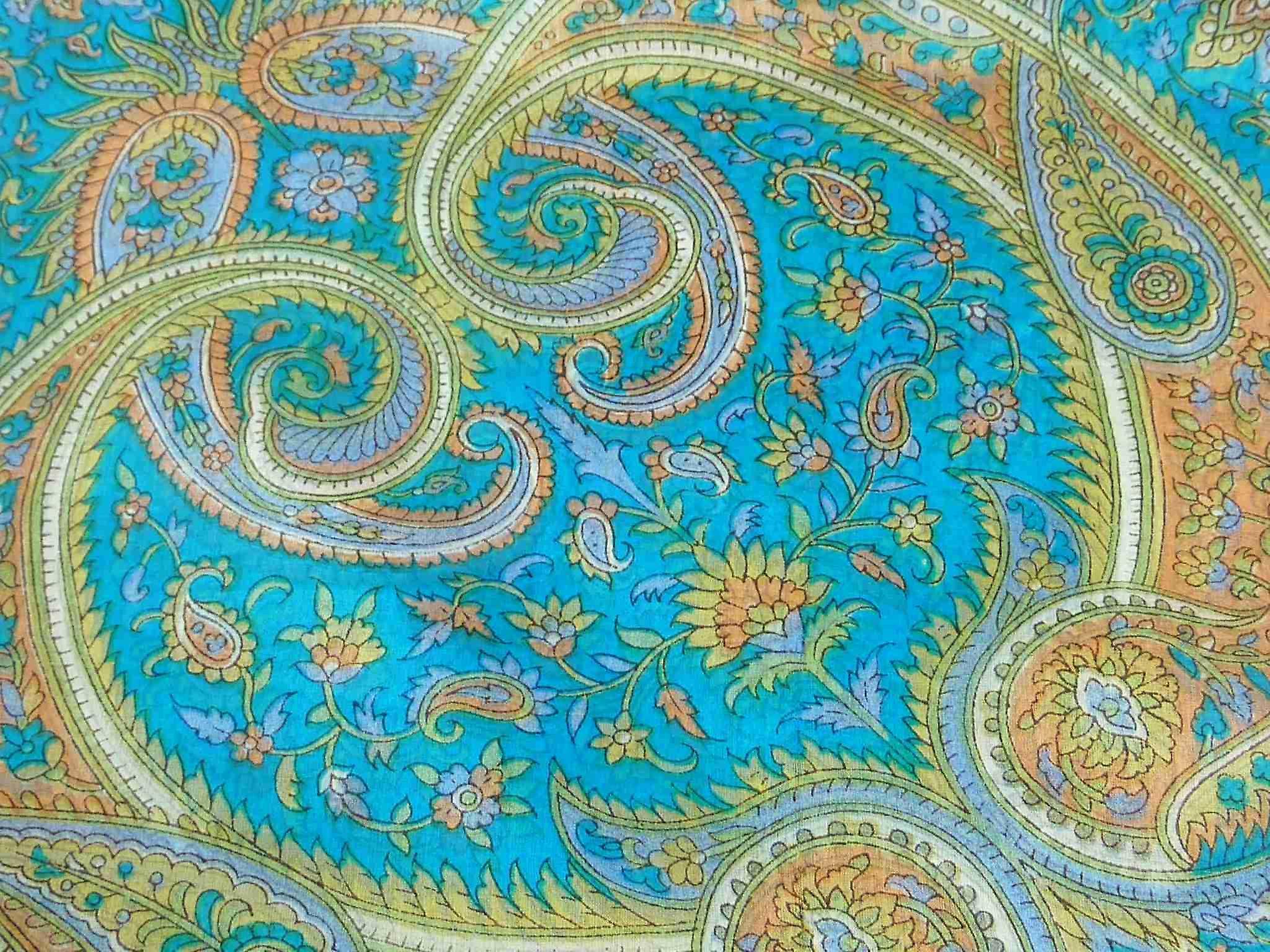 Mulberry Silk Traditional Square Scarf Firoza Aquamarine by Pashmina & Silk
